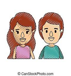 体, 風刺漫画, 色, 恋人, クレヨン, ストライプ, 半分, 前部, 子供, 光景