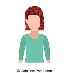 体, redhair, 女 シルエット, 半分