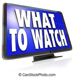 何か, スクリーン, 腕時計, テレビ, hdtv, 提案, ガイド