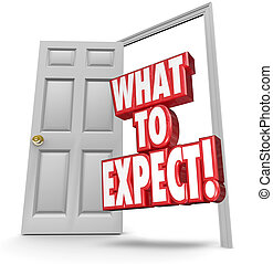 何か, ドア, 危険, 縮小, 期待しなさい, 言葉, 開いた, 防止, 3d