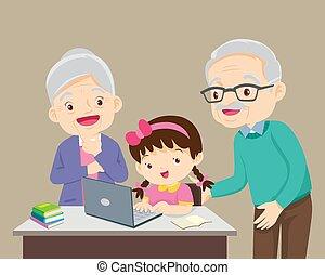 何か, 幸せ, 祖父母, ラップトップ, 使うこと, ありなさい, 女の子, 子供