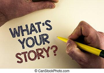 何か, 概念, 単語, ビジネス, storytelling, 個人的, テキスト, 手。, question., 背景, 書かれた, 執筆, を過ぎて, ペン, 経験, 保有物, 平野, 物語を言うこと, あなたの, 人