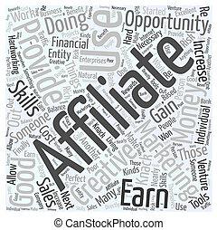 何か, 概念, 単語, マーケティング, affiliate, 雲