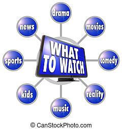 何か, suggestions, 腕時計, 考え, hdtv, プログラム, ガイド