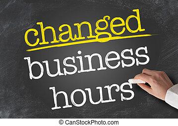 何時間も, ビジネス, 書かれた, 黒板, テキスト, changed