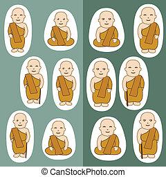 佛教徒, 修士, 卡通