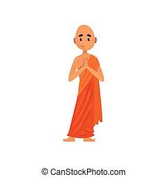佛教徒, 字, 僧侶, 插圖, 卡通, 矢量, 背景, 橙, 白色, 祈禱, 長袍
