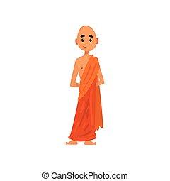 佛教徒, 字, 僧侶, 插圖, 卡通, 矢量, 背景, 橙, 白色, 長袍