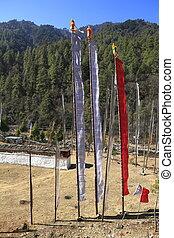 佛教徒, 禱告, 旗, -, 王國, ......的, 不丹
