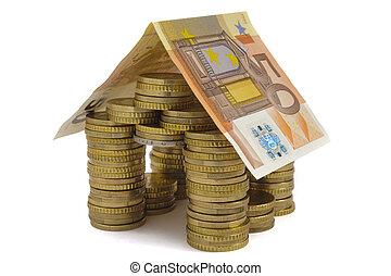 作られた, お金, 上に, コイン, 隔離された, 背景, 家, 白