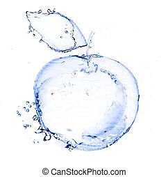 作られた, アップル, 隔離された, 水, はねる, 白