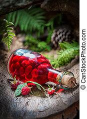 作られた, アルコール, リキュール, ラズベリー, 森林, 成果