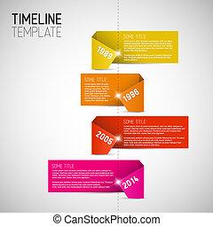 作られた, カラフルである, タイムライン, infographic, テンプレート, ペーパー, レポート