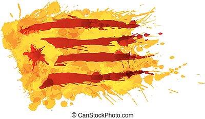 作られた, カラフルである, estrelada, 旗, はねる, カタロニア