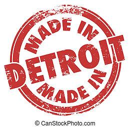 作られた, グランジ, 切手, デトロイト, 言葉, インク, 紋章, ロゴ, バッジ, 赤