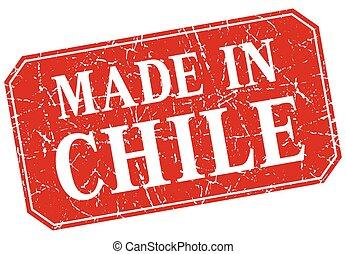 作られた, グランジ, 切手, 広場, チリ, 赤