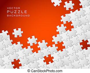 作られた, パズル小片, ベクトル, 背景, 白い赤