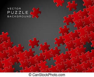 作られた, パズル小片, ベクトル, 背景, 赤