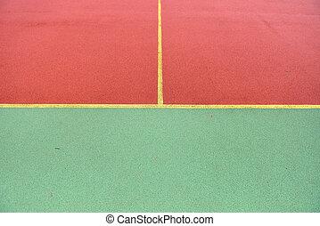 作られた, フットボール, ライン, 細部, 黄色, 微粒, ゴム, フィールド, 交差させる, playground., 緑, サッカー, 赤