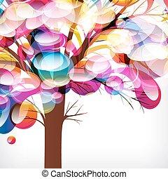 作られた, ブランチ, カラフルである, 抽象的, 木, drops., 背景