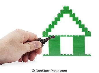 作られた, ブロック, キー, lego, 家, 人間の術中, 保有物