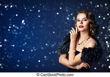 作られた, ヘアスタイル, ファッション, 古い, 宝石類, 美しさ, 構造, 女, レトロ, 肖像画, 毛皮, モデル, 贅沢