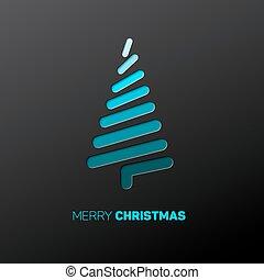 作られた, ライン, 現代, 木, ベクトル, クリスマス