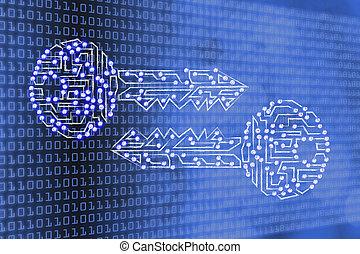 作られた, リードした, cryptography, &, キー, 暗号化, ライト, サーキット, 似合う