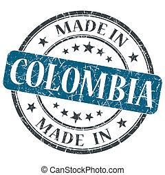作られた, 中に, コロンビア, 青, グランジ, 切手, 隔離された, 白, 背景