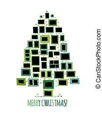 作られた, 写真, 木, 挨拶, クリスマス, フレーム, デザイン, あなたの, カード