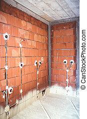 作られた, 効率的である, エネルギー, 上, 熱, 家, 材料, 壁, 電気, 断熱材, プラグ, れんが, 品質, パイプ
