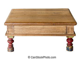 作られた, 古い, 身につけられた, 木, 職人, テーブル