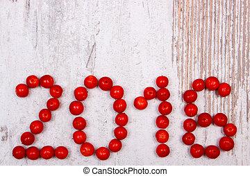 作られた, 古い, viburnum, 木製である, 背景, 年, 新しい, 2016, 赤, 幸せ