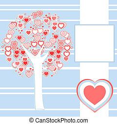 作られた, 愛, 木, 定型, 背景, 心, 赤