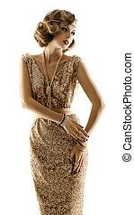 作られた, 服, 女, ファッション, 古い, ガウン, 金, 金, 上に, 女の子, 夕方, レトロ, 背景, 白, モデル