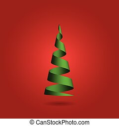 作られた, 現代, 木, イラスト, バックグラウンド。, ベクトル, 緑, リボン, デザイン, クリスマス, 赤, 3d