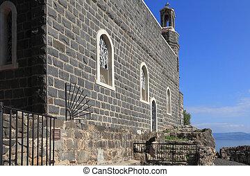 作られた, 神聖, gennesaret., 海, 教会, あった