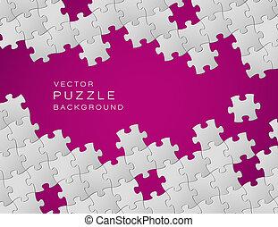 作られた, 紫色, パズル小片, ベクトル, 背景, 白