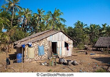 作られた, 自然, myanmar., 家, 材料, poorer, 伝統的である, 西, 田園, 海岸, から