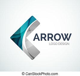 作られた, 色, 小片, デザイン, 矢, ロゴ, アイコン