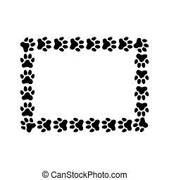 作られた, 足, prints., フレーム, 長方形