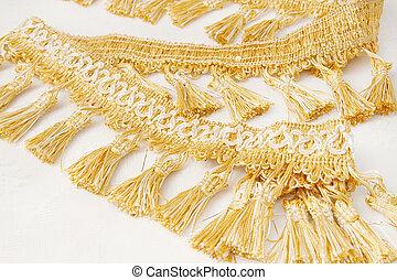 作られた, 金, 糸, 装飾, ブラシ, カーテン