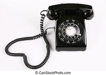 作られた, 黒, 古い, 回転式の電話
