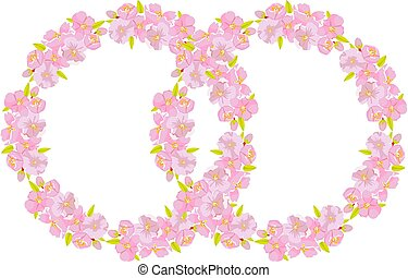 作られた, illustration., さくらんぼ, シンボル, 結婚式, ベクトル, 花, 招待, リング, あなたの, カード, design.