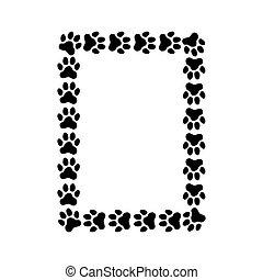 作られた, prints., フレーム, 長方形, 足