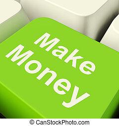 作りなさい, お金, コンピュータのキー, 中に, 緑, 提示, 始動, ビジネス, そして, 富