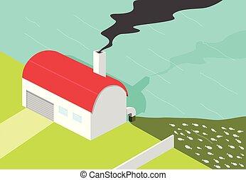 作りなさい, 工場, 水, ひどく, 黒煙, 汚染