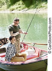 作りなさい, 男性, 釣り, 準備