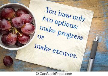 作りなさい, 2, 弁解, ∥たった∥, 持ちなさい, 進歩, あなた, options:, ∥あるいは∥