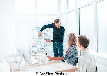 作り, プレゼンテーション, 新しい, プロジェクト, マネージャー
